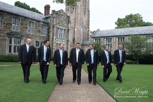 Groomsmen in black tuxedos
