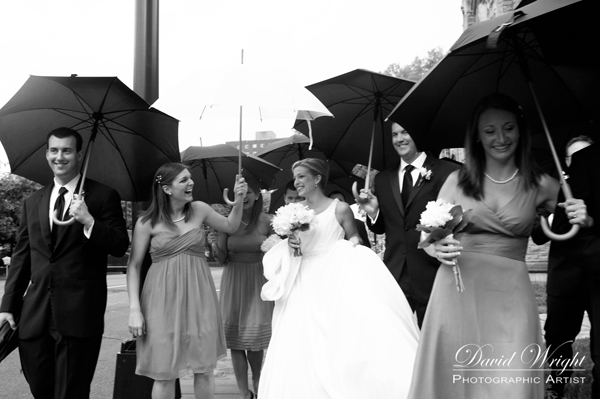Umbrellas at a wedding