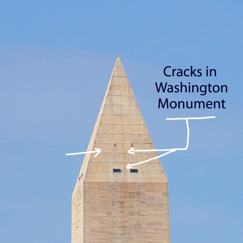 Washington Monument earthquake damage
